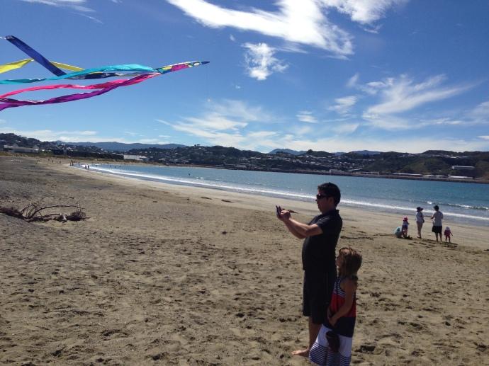 Kite flying on Lyall Bay beach