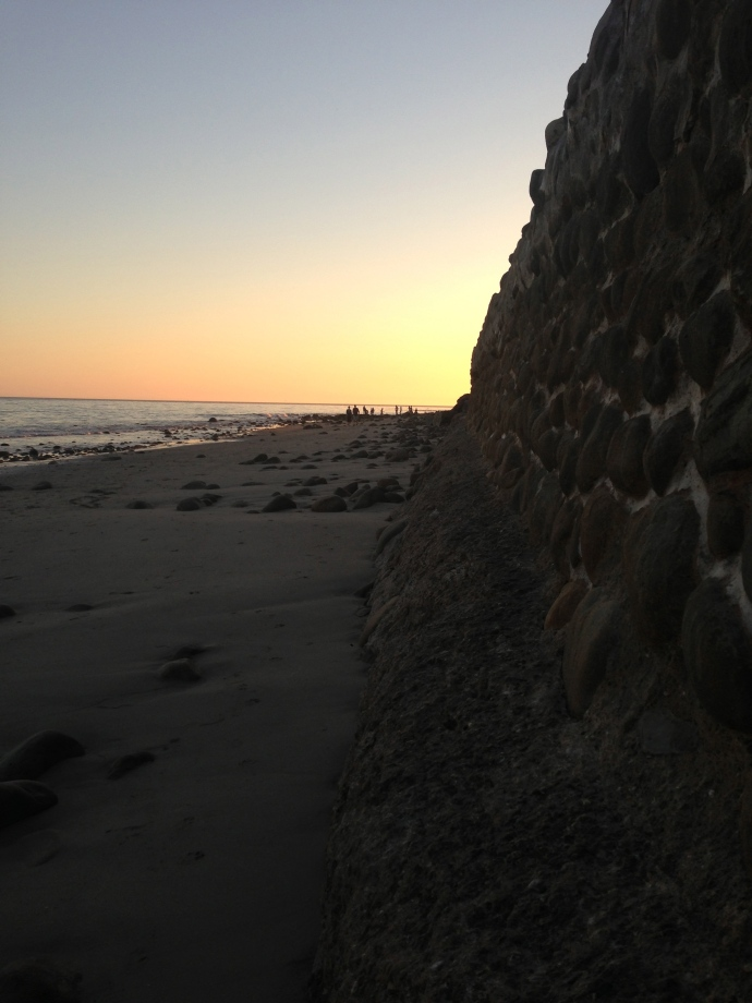 Sunset, sea wall, Miramar Beach