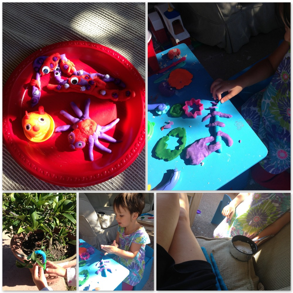 Playdough creatures with Miss 3