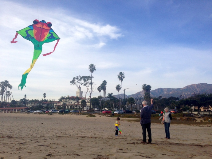 Kite flying with Grandma & Granddad at Santa Barbara Beach
