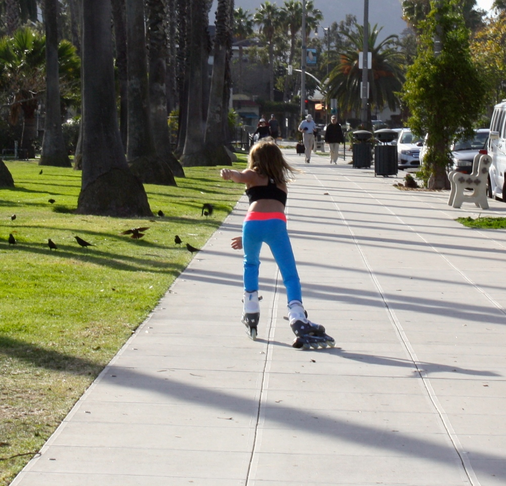 Chasing Miss 8 on her rollerblades