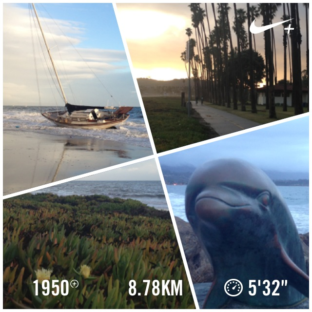 Running Santa Barbara beach