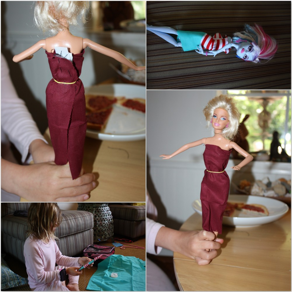 Learning to hand stitch, making dolls clothes and bookmarks