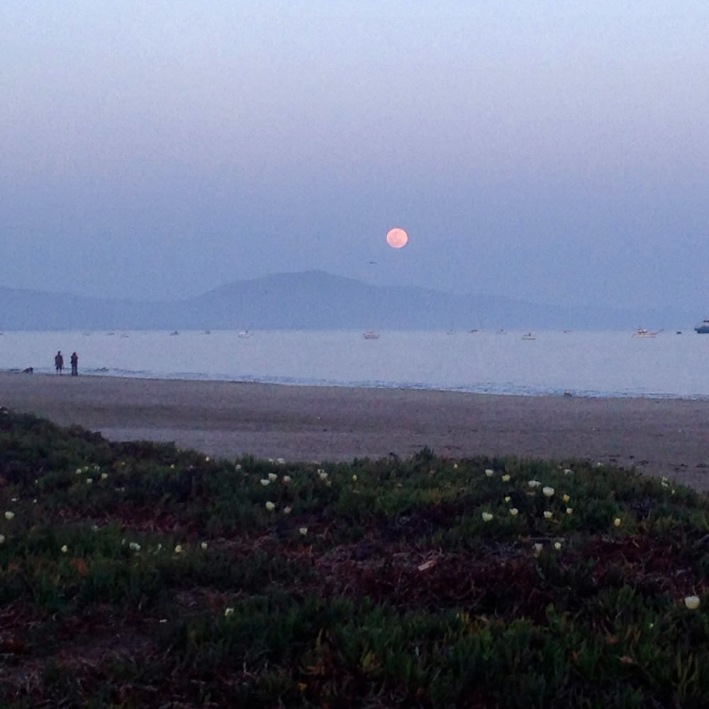 Full moon on Santa Barbara beach