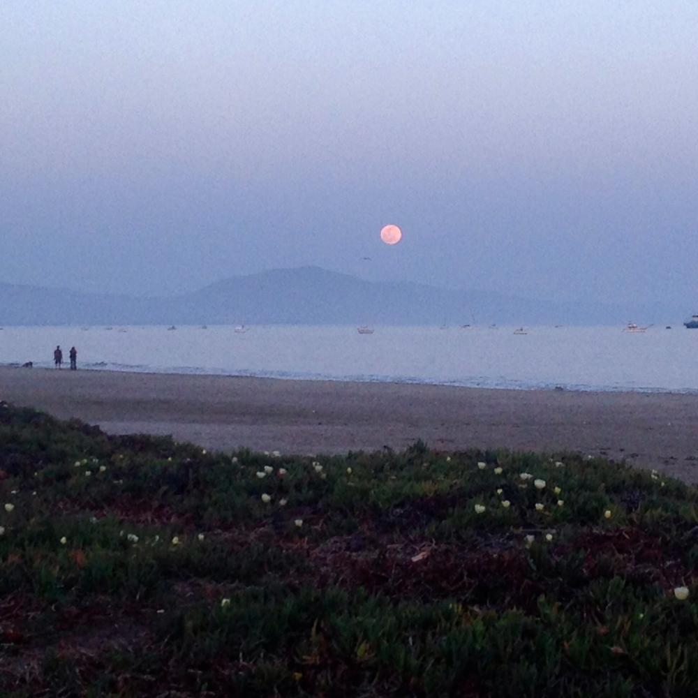 Full moon on Santa Barbara beach
