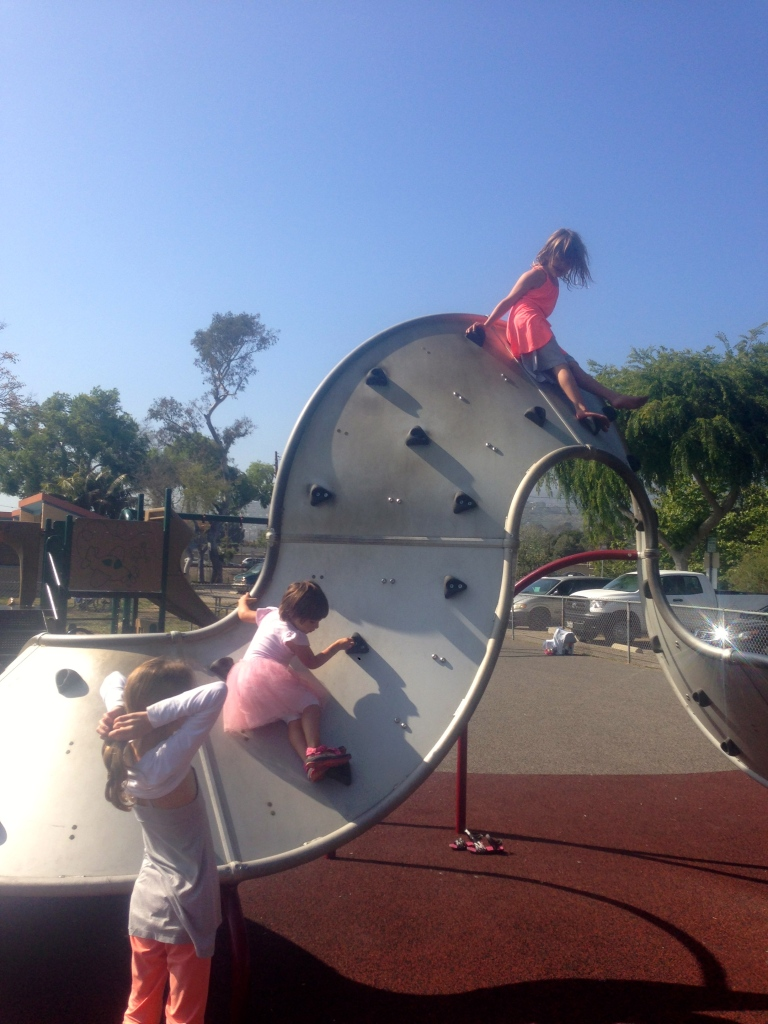 Climbing at the playground