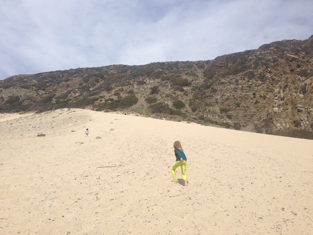 Heading up the sand dune