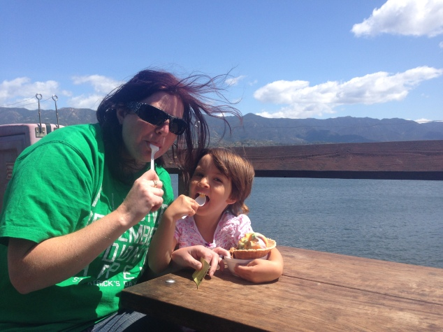 Our Kiwi friend, Frances, sharing an ice-cream with Miss 4 on Stearns Wharf, Santa Barbara.