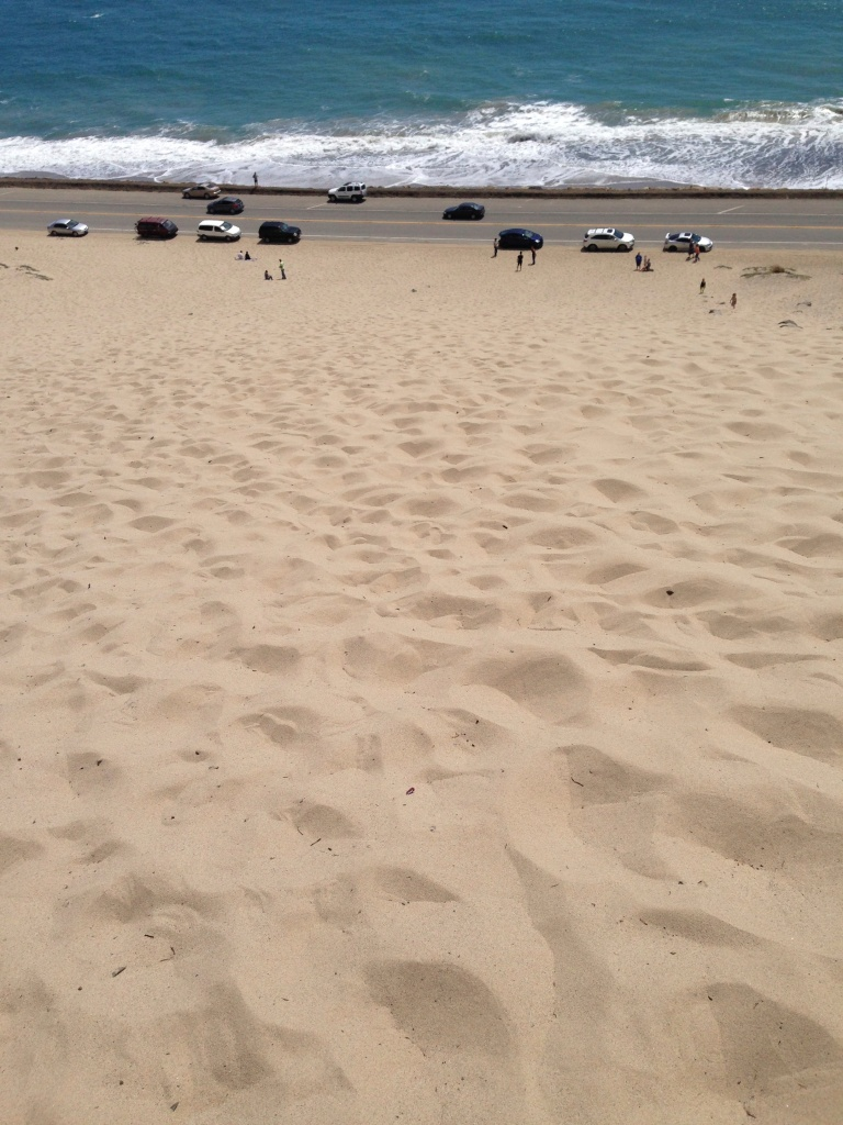 Looking down from the top of the sand dune!