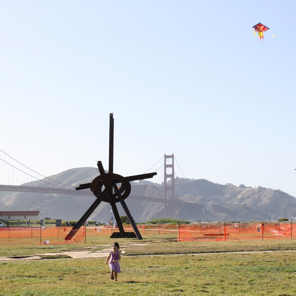 Miss 4 catching air in Crissy Field Park, San Francisco