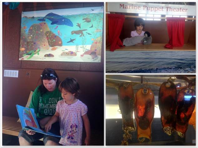 Frances enjoying a tour of the Marine Education Center on Stearns Wharf, Santa Barbara, with Miss 4.