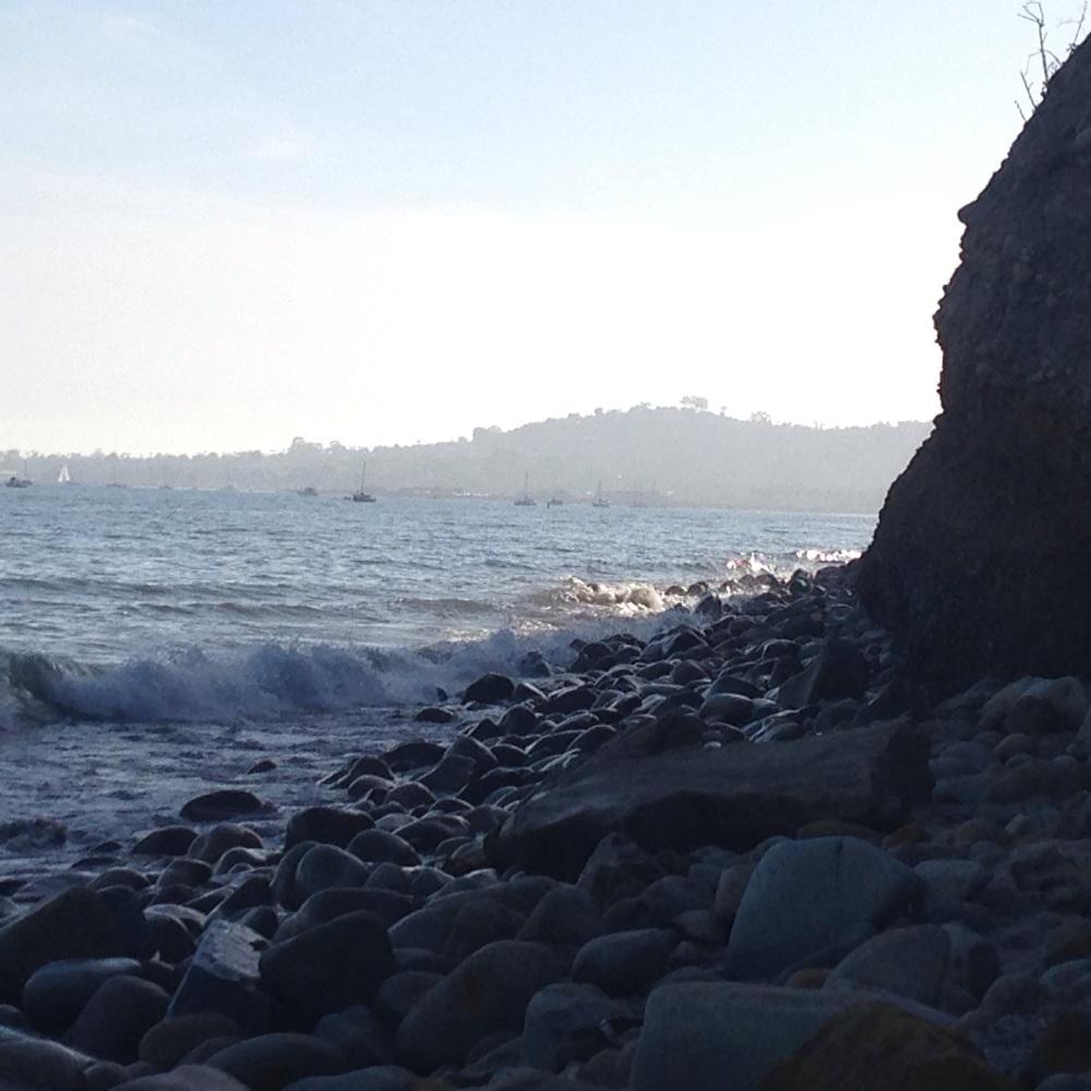Santa Barbara beach to Butterfly Beach at high tide
