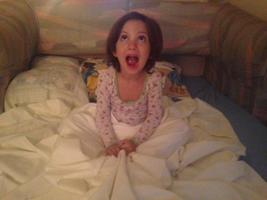 So excited to be staying at her Grandparents house (and a Paddington Bear pillow case!)