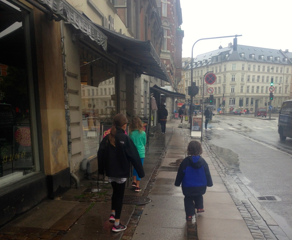 Walking in the rain in Copenhagen
