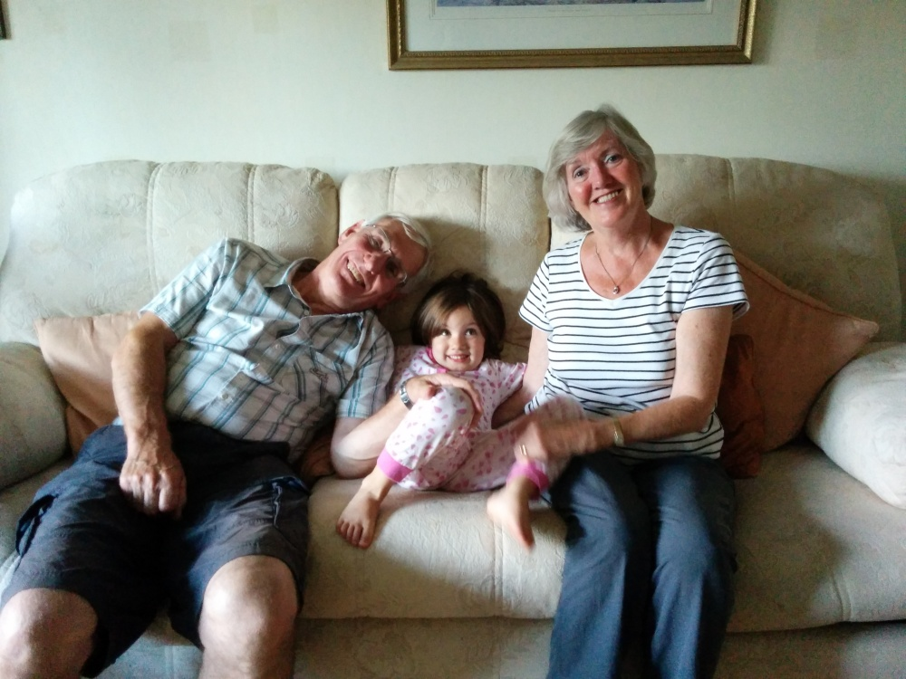 My dear folks with their youngest granddaughter, Alice