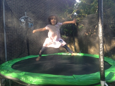 Youngest, Miss 4, having a blast at my friend's house