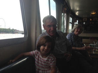 Grandma & Granddad boating along the River Thames with Alice